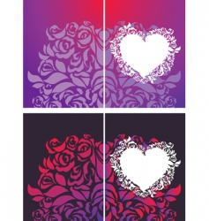 heart and roses petals backgrounds vector image