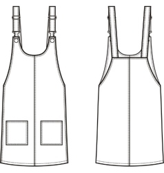 Jean overall dress front and back vector