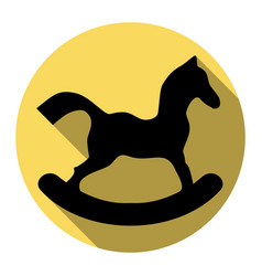 horse toy sign  flat black icon with flat vector image