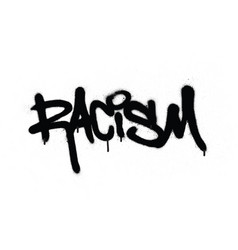 Graffiti racism word sprayed in black over white vector
