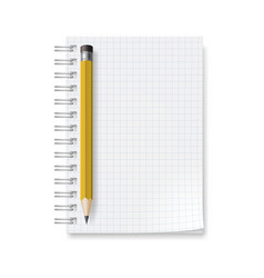 Notebook with sheets in a cage on white vector