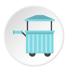 Blue trolley with awning icon circle vector