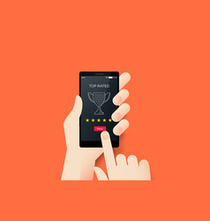 Hand holding smartphone with conceptual top rated vector