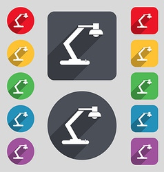 Light bulb electricity icon sign a set of 12 vector