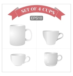 Set of 4 isolated white cups vector