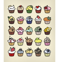 Cupcakes color vector