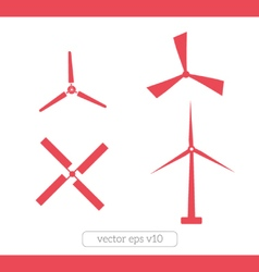 Windmill icons set vector