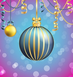 New year greeting card christmas ball with bow and vector