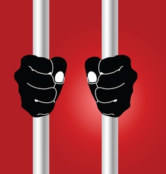 Hand holding prison bars on red vector