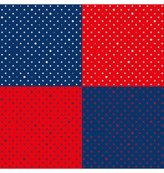 Set Navy Blue Red Star Polka dot vector image