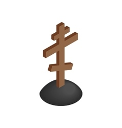Wooden cross tombstone isometric 3d icon vector