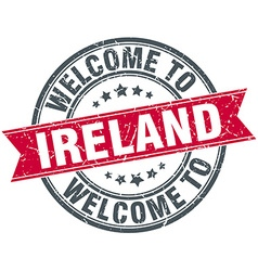 Welcome to ireland red round vintage stamp vector