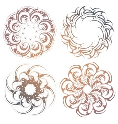 Circle lace ornament set vector