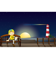 A boy sitting at the bench in the middle of the vector image