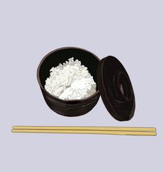 a rice bowl and chopstick vector image