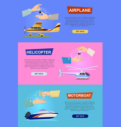 Airplane helicopter motorboat hands passing key vector