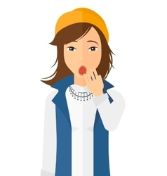 Apathetic young woman yawning vector image