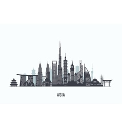 Asia skyline silhouette Travel and tourism vector image vector image