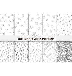 autumn seamless patterns hand drawn design vector image vector image