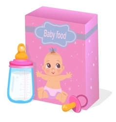 Baby food and milk bottle in pink colors vector