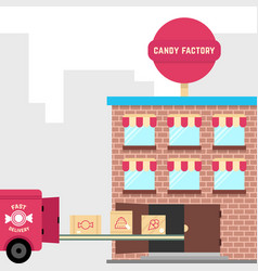 Candy factory with fast delivery vector