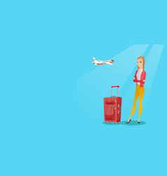 caucasian woman suffering from fear of flying vector image vector image