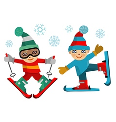 Children skiers vector image