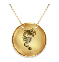 Chinese dragon on a gold disk vector