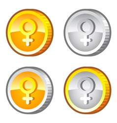 Coins with female sig vector image vector image
