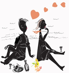 couple on picnic vector image vector image