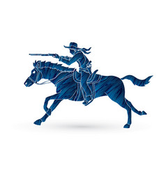 cowboy riding horseaiming rifle vector image vector image