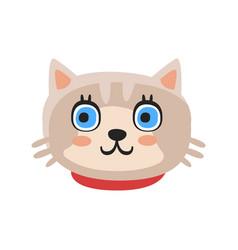 Cute gray kitten head funny cartoon cat character vector