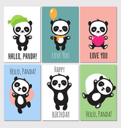 cute panda kids invitation cards vector image vector image
