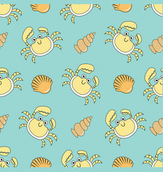 cute seamless patterns with crab and shells vector image vector image