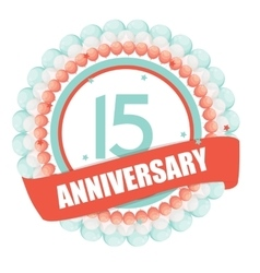 Cute Template 15 Years Anniversary with Balloons vector image vector image