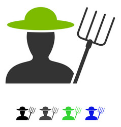 farmer with pitchfork flat icon vector image