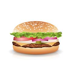fast food realistic popular burger photo vector image