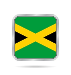 Flag of jamaica shiny metallic gray square button vector