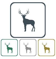 flat deer icon vector image vector image