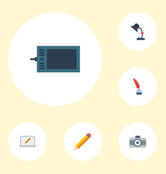 Flat icons gadget illuminator pen and other vector