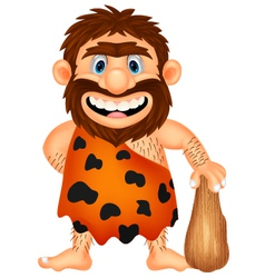 Funny caveman cartoon vector