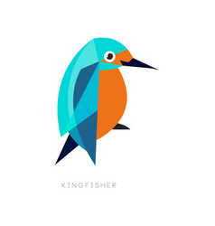 Geometric symbol of kingfisher brightly colored vector