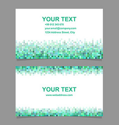 Green square mosaic business card design vector