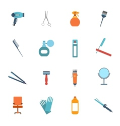 Hairdresser icon set flat vector