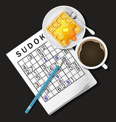 Ilustration of sudoku game mug of coffee and waffl vector