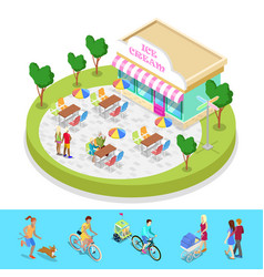 Isometric city park composition with cafe vector
