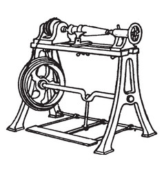 Lathe for wood turning vintage vector