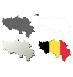 Liege outline map set - Belgian version vector image vector image
