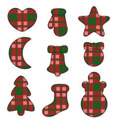 new year symbols felt toys made of fabric tartan vector image vector image