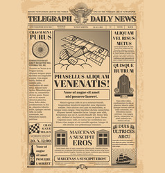 old newspaper template retro newsprint vector image
